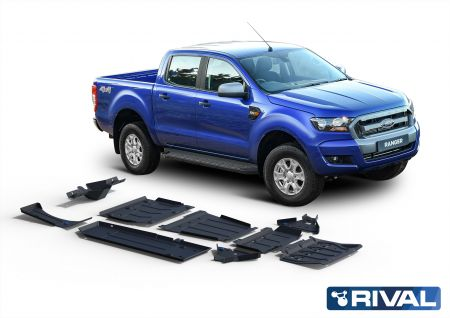 Rival4x4 skidplate full kit (9 pcs) Ford Ranger PX1, PX2 (Engine typ.: 2,2; 3,2, incl. EURO6)