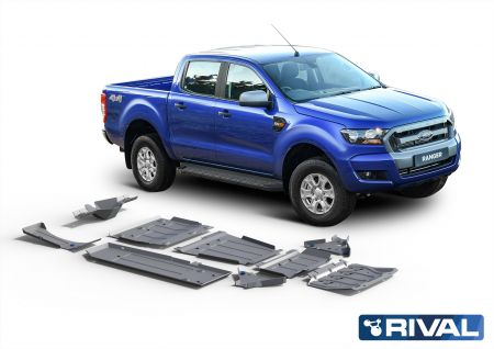 Rival4x4 skidplate 8 pcs kit Ford Ranger PX1, PX2, PX3, Engine typ.: 2,2; 3,2, incl. EURO6; 2.0 TDCi