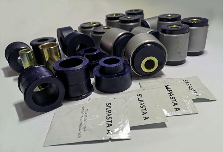 Polyurethane bush kit with metal housing swivel arm bushings, corrector in front Nissan Patrol Y60/61 2,8 (-)