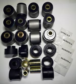 Polyurethane bush kit with metal housing swivel arm bushings, corrector in front Nissan Patrol Y60/61 2,8