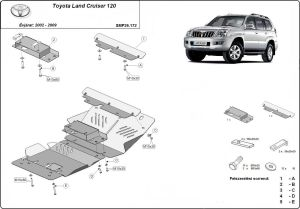 Toyota Land Cruiser 120 3.0D, 4.2D 2002 - 2009 - Engine protector plate