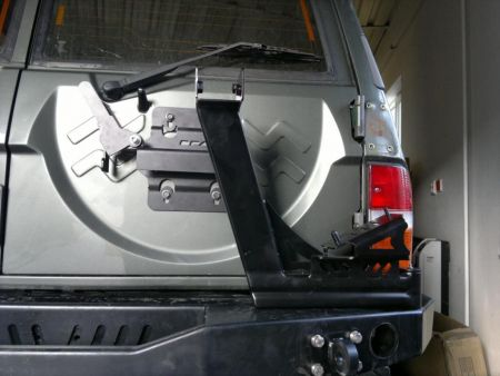 F4x4 spare wheel carrier with Hi-Lift Jack holder Nissan Patrol Y60