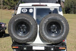 F4x4 Rear bumper with double spare wheel carrier for Toyota Land Cruiser 71, 75, 76, 78, 79 from 2007