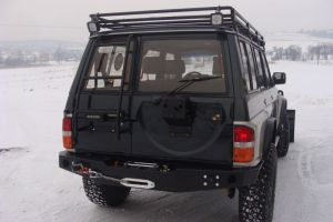 F4x4 Rear bumper with winch holder, spare wheel carrier with Hi-lift jack holder for Nissan Patrol Y60